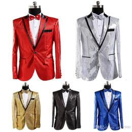 Esmoquin rojo dorado online-2016 Mens Gold / Blue / White / Red Sequins Tuxedo Traje de la etapa de la boda rendimiento Blazers traje de pantalón