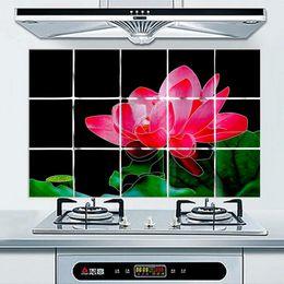 All'ingrosso-All'ingrosso impermeabile 75 * 45 centimetri modello di fiore in alluminio di rame Foil Sticker olio prova cucina parete decalcomania stili di decorazione da