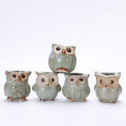 Wholesale Ceramic Flowerpots - Lovely Durable Garden Pot Breathable Animal Owl Ceramics Flowerpots Anti Wear Corrosion Resistant Mini Planters Portable 2 5yh B R