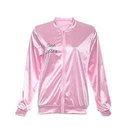 Wholesale Women Costume Cheerleader - Wholesale- Halloween Pink Lady Retro Jacket Womens Fancy coat Grease Costume Cheerleader 2016 Autumn fashion jacket