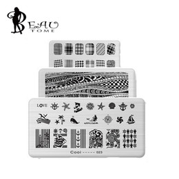 Wholesale Template Stickers - Wholesale- 6*12cm Stainless Steel Nail Art Stamping Plates Geometric patterns Monroe Madonna Sports Nails Template Stamp for stickers