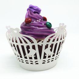 Wholesale bird wedding cakes - Lovely Birds Cupcake Wrapper White Vintage Flower Laser Cupcake Wrapper Muffin Paper Cup Cake Box Wholesale
