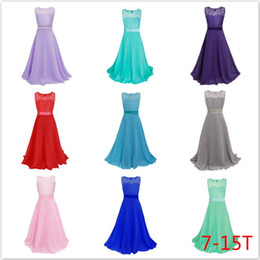 Wholesale Wholesale Wedding Sashes For Dresses - Girls Wedding Dresses Bridesmaid Evening Gown Dress Princess Lace Belted Bow Full-length Dress Girls Chiffon Evening Full Dress For 7-15T