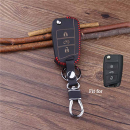 Wholesale Volkswagen Amarok - High Quality leather car key cover for skoda Octavia A7 combi RS A 7 remote protector keyring