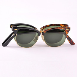 Wholesale Newest Brand Sunglasses - Hot Sale Newest Fashion Classical fold Sunglasses Master Folding Glasses Rollaway Women Brand Designer Men Spectacles with box 51mm size