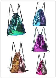 Wholesale Elegant Drawstring Women Bags - Sequins Backpacks Bag Mermaid Sequin Drawstring Bags Glitter Sports Shoulder Bags Best Backpack Style Nylon Mini Elegant Bags
