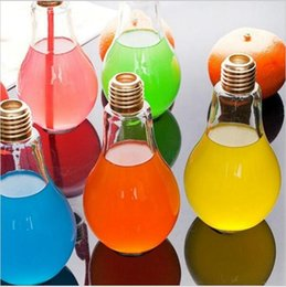 Wholesale Tea Light Glass Cups - Creative Eye-catching Light Bulb Shape Tea Fruit Juice Drink Bottle Cup Plant Flower Glass Vase Home Office Desk Decoration YYA105