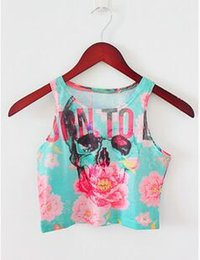 Wholesale Rainbow Crop Top - Wholesale-Summer Style Women sexy Top Cropped Tank Printed Letter Sunset Leopard Pattern Skull Flower Rainbow why MLGB fittness