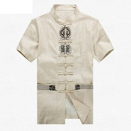 Wholesale Traditional Chinese Cotton Shirt - Wholesale- Beige Brand New Arrival Cotton Linen Chinese Traditional Men's Embroider Kung Fu Shirts Tops M L XL XXL 3XL 4XL MS2015022