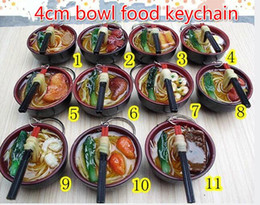 Wholesale Mobile Phone Keyrings - Free Ship 50pcs 4CM Keychain Keyring Delicious Black Oriental Bowl Food With Chopsticks ON Noodles Charm Phone Strap Mobile Bag Pendant Gift