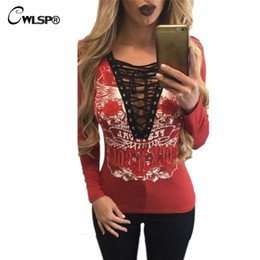 Wholesale Lace Up Shirts For Women - Wholesale- CWLSP T shirt Women V Neck long sleeve tshirt ROCK N ROLL Hollow Out Lace Up T-shirts for women plus size korean fashion QA1506
