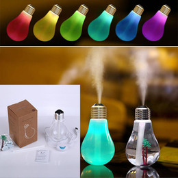 Wholesale Light Bulb Air Humidifiers USB Ultrasonic Humidifier Home Office Mini Air Purifier Atomizer Colorful LED Night Humidificador Maker XL G217