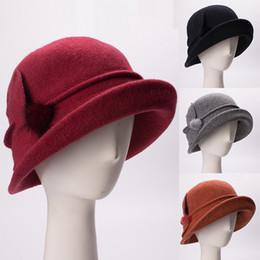 Womens Vintage Style Wool Soft Floral Asymmetrical Upturn Brim Cloche Bucket  Winter Church Wedding Hat A474 a8fadca5c4d6