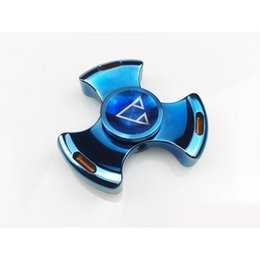 Wholesale Pac Blue - Newest Stainless Steel Fidget Spinner toy finger spinner toy Hand tri spinner HandSpinner Toy For Decompression Anxiety Toys with retail pac