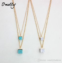 Wholesale Square Plates Bulk - Necklaces Pendants Fashion Women Turquiose Stone Square Clavicle Chain Necklaces Bijoux Wholesale Christmas Gift in Bulk