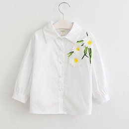Wholesale Childrens Flower Tops - New Childrens Clothing White Girls Flower Shirts Kids Tops Blouses Spring Autumn Toddler Shirt Best cotton Long Sleeve T Shirts Lovekis A39