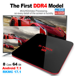 Wholesale Network Dual - TV DDR4 Android Boxes Smart 4K Amlogic S912 TV Box R-box Pro Dual Band 5.8GHZ AC WIFI BT4.0 1000M bps Network Octa Core TV Box 3GB 32GB