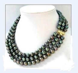 Wholesale strands black pearls 9mm - triple strands SOUTH SEA AAA 8-9MM BLACK PEARL NECKLACE 14K Gold Clasp