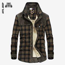 Wholesale Thick Warm Long Sleeve Shirts - AFS JEEP Men Casual Shirt Winter Warm Long Sleeve Shirts Warm Thick Cotton Fleece Fashion Plaid Shirt Quality Loose Casual Shirts
