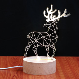 Wholesale Home Decoration Lighting Items - New Arrive Creative 3D Transparent The Deer Small Night Light Novelty Items Small Desk Light Home Decorations 03