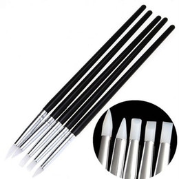 Herramientas de tallado de sellos online-5 Unids Silicona Suave Nail Art Design Stamp Pen Brush Tallado Craft Cerámica Escultura UV Gel Pinceles de construcción Lápiz DIY Herramientas