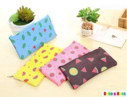 Wholesale Watermelon Pen Case - Wholesale- New fashion Fruit Watermelon style fabric Pencil bag   pen case   pouch   Wholesale