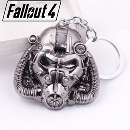 Wholesale Black Costume Jewelry Rings - Hot Game FALLOUT4 charms mask keychain Power Armor cosplay Jewelry key rings Kids Souvenirs chaveiro llavero Costume Props 2017 wholesale