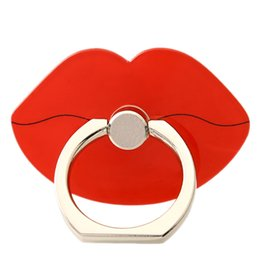 Wholesale Sexy Lip Rings - 360 Degree Mobile Cartoon Sexy lips Finger Ring Holder Mobile Phone KickStand For iphone7 plus 6s Samsung Xiaomi Universal Ring hook bracket
