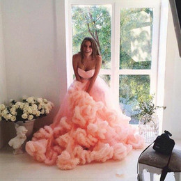 Wholesale Lace Layer Dress - Wave Tier Layer Skirts Long Train Peach Ball Gown Wedding Dresses 2018 Cascading Ruffles Bridal Gowns with Sash