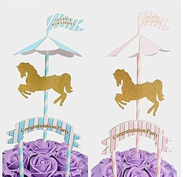 Wholesale Card Inserts - Pink Blue Carousel Arch Insert Card Party cake Decoration Wedding Happy Birthday baby show Party Lovely Gift