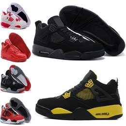 Wholesale Cheap Military Shoes - Best Cheap Air retro 4 IV Men Basketball shoes Military Blue Pure Mars Thunder bred Oreo Fire Red White Cement Shoes Free Shipping