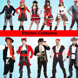 Wholesale Caribbean Dresses - Pirate Costume Caribbean Pirates Costume Adult Stage Performance Carnival Costumes Fancy Dress Party Supplies