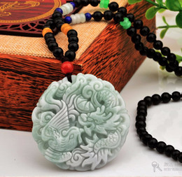 Wholesale Dragon Phoenix Jade Pendant - 100% All Natural Grade A Jade Jadeite Pendant   Bless Dragon Phoenix Pendant