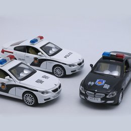 Wholesale Model Toy Police Lights - 15CM Metal Car, 1 32 Scale Diecast Model Police Toys Car, Replica Toy, Boys Present With Gift Box Music Light Pull Back Function