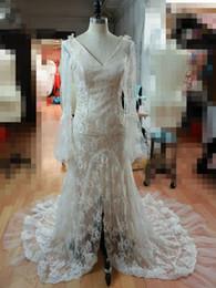 Wholesale Usa Wedding Dresses - Real Lace Mermaid Wedding Dresses 2017 V Neck Long Sleeves Wedding Gowns Sexy Backless Vintage Boho Wedding Dresses China Bridal Gowns USA