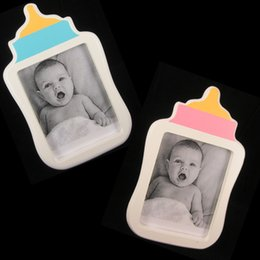 """Wholesale Baby Wooden Picture Frame - 1Pc -3""""X4""""Classic Baby bottle photo frame wooden picture frame It's a boy it's a girl themed baby shower favors decor"""