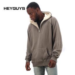 Wholesale Street Sweatshirt Collar - Wholesale-HEYGUYS 2016 fashion Men hooides warm high street Hip Hop Streetwear pure Sweatshirts wear Clothing fleece designer winter