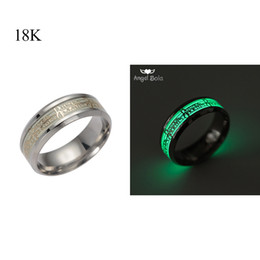 Wholesale Gold Inlay Ring - Lord of The Ring Glow In The Dark Gold Inlay Green Background Fashion Silver Men Woman Rings Fluorescent Glowing