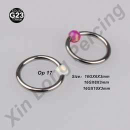 Wholesale 3mm Ball Stud Nose Ring - G23 Titanium Piercing Body Jewelry 16G BCR 3mm Opal Ball Closure Ring Nipple Ring Lip Tragus Eyebrow Hoop