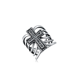 Wholesale Stone Rings Designs Men - Rings For Men Women Crystal Rings European Celtic Platinum Cross Design Personalized Hip Hop Jewelry Wholesale 2010551087