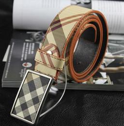 Wholesale Belts Flat Buckle - Wholesale High - grade British checkered business casual flat side buckle fashion universal belt