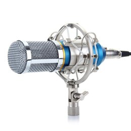 Wholesale Microphone Mounts - Professional Condenser KTV Microphone BM-800 Cardioid Pro Audio Studio Vocal Recording Mic KTV Karaoke+ Metal Shock Mount