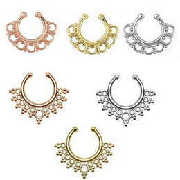 Wholesale Nose Jewelry Cheap - Fashion Crystal Fake Nose Ring Septum Nose Hoop Ring Non Hanger Clip On Body Piercing Jewelry For Punk Women Wholesale Cheap