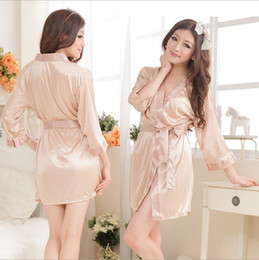 Wholesale Sexy Satin Long Lingerie - Wholesale- Rayon Bathrobe Womens Kimono Satin Long Robe Longue Sexy Lingerie Hot Nightgown Sleepwear Dressing Gown Vestido pajama femme