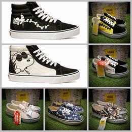 Wholesale 2017 vans x peanuts Skate Canvas Slip On Low High Tops Shoes Women Mens Snoopy Comic Pink Good Grief Old Skool Casual Sneakers