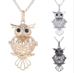 Wholesale Hollow Ball Pendant Necklace - Fashion Jewelry Heart Owl Waterdrop Round Ball Pendant Hollow Music Bola Cage Pendant Locket For DIY Pregnant Mother Necklace