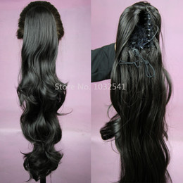 "Wholesale Extensions 65cm - Wholesale-26"" 65cm Synthetic Long Lady Wowen Curly Wavy Claw Clip Ponytail Pony Tail Hair Extension body wave Medium Brown Free Shipping"