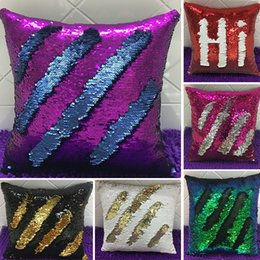 Wholesale Cushioned Car Covers - 2017 Double Sequin Pillow Case Cover Glamour Square Pillow Case Cushion Cover Home Sofa Car Decor Mermaid Bright Pillow Covers WX-P01