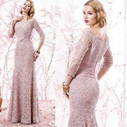 Wholesale Knee Length Sexy Trumpet Wedding - Mermaid Peach Evening Gowns Formal Suits Plus Size Lace Mother of The Bride Groom Dresses 3 4 Long Sleeves 2017 Modest Vintage Wedding Dress