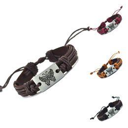 Wholesale Braided Butterfly Bracelet - Wholesale- Butterfly Genuine Leather Charm Bracelet Cuff Braided Wrap Bracelet & Bangles Fashion For Women Men Gifts